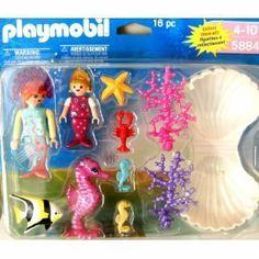 Playmobil 5884 Magic Castle Mermaids & Accessories by Playmobil. $9.99. Includes Mermaid with child mermaid, 3-SeaHorse, Starfish, Angelfish, Lobster, Pink & Purple Seaweed, Clamshell. Playmobil Mermaids 16 pc with accessories. Playmobil 5884 Magic Castle MERMAIDS AND ACCESSORIES.