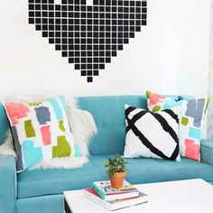 Brighten up any room with these abstract painted pillows!