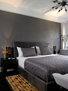 "Modern Master Bedroom with Exposed beam, Wide Plank Kempas Collection Ebony 5"", Hardwood floors, Sputnik Filament Chandelier"