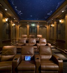 Traditional Home Theater With Movie Theater Seating