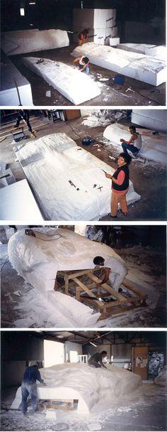 Lami Gérard - 1999-Luxeuil les Bains 70-Ex-voto Monumental h:8m (façonnage et montage des demi-moules positifs en polystyrène haute densité)