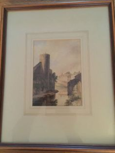 Watercolour of a Castle overlooking a river by OnlineAntiquesuk