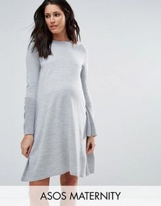 ASOS Maternity Dress in Knit With Fluted Sleeve