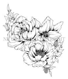 Original Floral Tattoo Design Hand Drawn INSTANT by negraphics