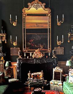 """Salon Vert of Hotel Orrouer, the Paris residence of Hubert de Givenchy. """"Private Houses of France"""" by Christiane de Nicolay-Mazery Traditional Interior, Classic Interior, Traditional Design, Home Decoracion, Interior Decorating, Interior Design, Decorating Ideas, Green Rooms, Celebrity Houses"""