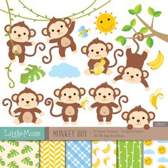 Monkey Boy Digital Clipart and Papers Monkey Clipart by LittleMoss