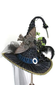 Gorgeous European Starling Victorian Witch Hat by Studio Sisu, Heirloom Witches Hat, Witches Ball New Orleans, Halloween Witch, Salem Witch,