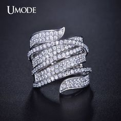 UMODE Vivid Unique Shaped White Gold Plated Diamond Paved Cocktail Ring