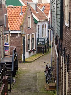 Volendam, Netherlands. This little town is where a family invited us into their home. Their beds were built into the walls and were very short. We noticed a photo of JFK on the wall.