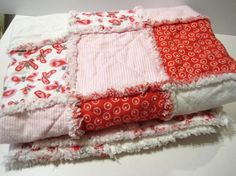 For A Little Princess - Pink Red White Fluffy Flannel Rag Quilt for Baby or Toddler / Baby Blanket / SALE! Coupon Code Inside