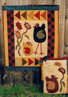 Chicken Scratch Applique Wall Quilt and Pillow by RoosterCreek, $8.00