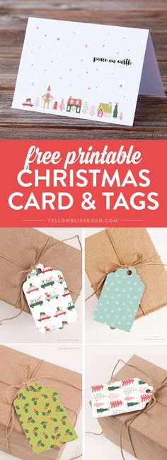 Free Printable Gift Tags! This set has pastels like lighter reds and more muted greens, aquas and even pinks and blues in fun, easy to use tags that you can print at home. Plus a coordinating free greeting card. via @yellowblissroad