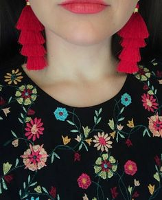 Items similar to Red Regina Boho Tassel Earrings Updo, Earrings Handmade, Tassels, Crochet Necklace, Smooth, Hoop Earrings, Brass, Silk, Trending Outfits