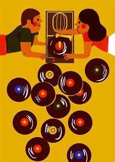 Vinyl record music art llustration by Virginie Morgand Vinyl Music, Vinyl Art, Vinyl Records, Lp Vinyl, Art And Illustration, Outline Artists, Kitsch, Vinyl Junkies, Vintage Records