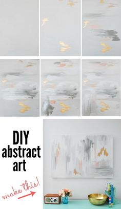 Want to make some DIY abstract artwork? Here is my step-by-step guide where you'll be able to paint a canvas in under 30 minutes!! No special artist skills required! You can even customize the colors for your decor. My painting featured gray, white, pink, and gold leaf. Click over for the full tutorial!