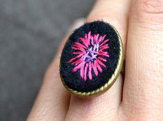 Felt Embroidered Ring Boho Felt Ring Felt by ContemporaryFeltArt