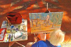 Pintor pintando al óleo el paraje de el Termet de Vila-real localizado en la Ermita de la Mare de Déu de Gràcia.