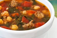 Sausage and Red Russian Kale Soup Recipe with Tomatoes, Chickpeas, and Herbs [from KalynsKitchen.com]