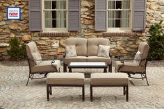 La-Z-Boy Outdoor Halley 4pc Seating Set with Lighted Table $900 sears.com