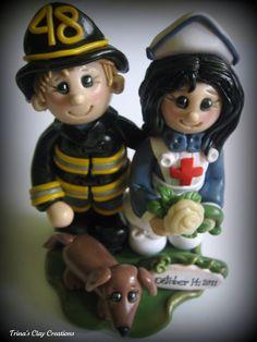 Fireman and Nurse Wedding Cake Topper ~ Trina's Clay Creations