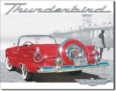 Ford Thunderbird - T-Bird : Plaque décorative rétro en métal représentant une Ford Thunderbird. Idéal pour créer une décoration vintage dans un garage, un atelier, un bar, un dinerou même dans une concessionauto.