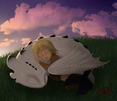 Hiccup and Astrid's son sleeping with Night Light dragon of Toothless and Light Fury Httyd Dragons, Dreamworks Dragons, Cute Dragons, Httyd 3, Cute Disney, Disney Art, Dragon Family, Toothless Dragon, Hiccup And Astrid