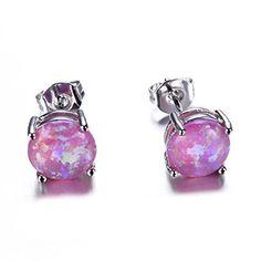 Women's Sterling Silver Round Cut Opal Stud Earrings Jewelry Gift Purple