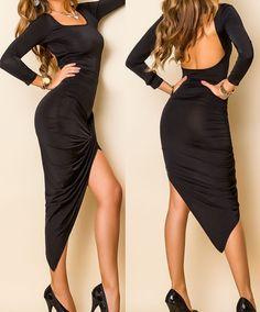 NEU! Sexy Maxikleid Langarm Abendkleid S 36 Kleid lang rückenfrei Robe Dress