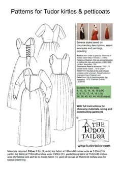 An excellent pattern for lower to middling classes and under layers for upper class. Several variations within the envelope. Women's Patterns - The Tudor Tailor
