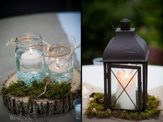 Table Center pieces - rustic wedding center pieces - southern wedding - outdoor wedding - lanterns - mason jar candles - Wedlock Images » Blog