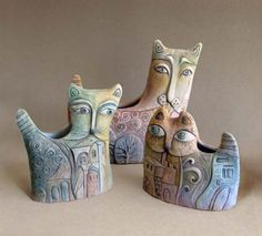 Pottery Animals, Ceramic Animals, Clay Animals, Clay Owl, Clay Cats, Ceramic Clay, Porcelain Ceramics, Cat Doll, Cat Crafts