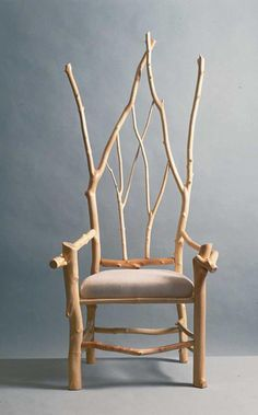 make twig furniture | The height of the seat back recalled the Gothic Wainscot chair with a high back, like a throne.