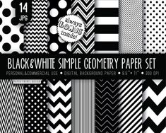 14 Black and white paper wedding paper black by PaperPrintsDesign, $3.00