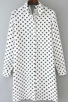 Lapel Polka Dot Cut Out White Dress