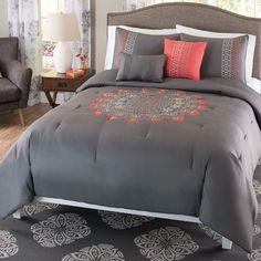 Bedding Comforter 5 Piece Set, Gray and Coral Pink - Embroidered Mandala #HowPlumb #Contemporary