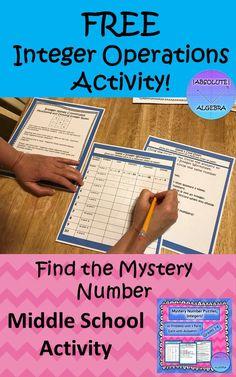 Integers Activities, Integers Worksheet, Math Activities, Subtracting Integers, Science Worksheets, Math Card Games, Word Games, 7th Grade Math, Math 8