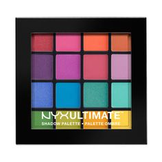 Ultimate Shadow Palette - Brights by NYX Professional Makeup I just love this eyeshadow palette and it's perfect for creating rainbow looks - I'm thinking mermaids and unicorns! Nyx Eyeshadow Palette, High Pigment Eyeshadow, Bright Eyeshadow, Colorful Eyeshadow, Colorful Makeup, Nyx Palette, Nyx Brights Palette, Make Up Palette, Makeup Ideas