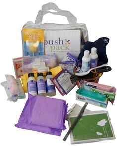 the push pack is a prepackaged hospital labor bag that includes all the items an expecting mom needs for the big day. the best part about the bag is that it includes all eco-friendly products!