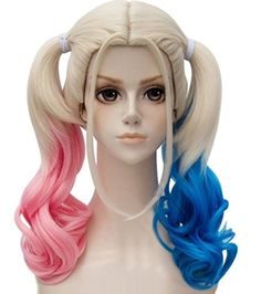 YunNasi Wavy Multi-Color Lolita Cosplay Wig Party Ponytails Wig(Pink/Blue) -- Awesome products selected by Anna Churchill