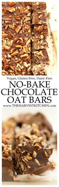 These No Bake Chocolate Oat Bars make a wholesome snack or healthy dessert!  Your whole family will love them!  @theharvestkitchen.com | gluten free | | vegan | | dairy free| | healthy dessert | | healthy snack | | clean eating | | healthy lifestyle |