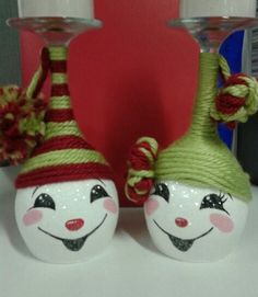 Hand painted snowman wine glass candle holders