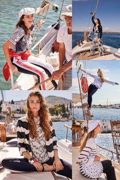 Klassische Streifen treffen auf maritime Prints, schimmernde Pailletten, Spitze und sportive Bänder. Active Wear, Ocean, How To Wear, Fashion, Reunions, Sequins, Lace, Clothing, Moda
