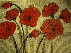 Poppies painted on a book page