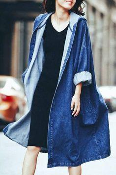 Denim, Hooded Loose, Long Sleeve Coat.