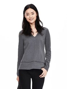 Beaded Vee Pullover - looks comfy and like beaded detail