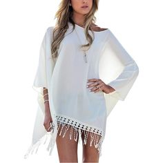 Relipop Women's Summer Oversized Long Tops Swimwear Cover up Beach... ($14) ❤ liked on Polyvore featuring swimwear, cover-ups, summer beach wear, white cover up, swim cover up, white swim cover up and beach cover up