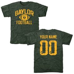 Men's Green Baylor Bears Personalized Distressed Football T-Shirt // A more affordable option for a customizable jersey!
