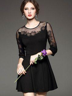 Black Round Neck Length Sleeve Contrast Gauze Dress 51.99
