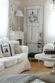 COTTAGE INSPIRATION | White-on-white Shabby Chic living room. | from a cached image
