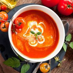 Heirloom Tomato Soup with Basil Pesto Tomato Basil Soup, Basil Pesto, Korma, Biryani, Veggie Recipes, Soup Recipes, Homemade Sandwich Bread, Frijoles, Homemade Soup